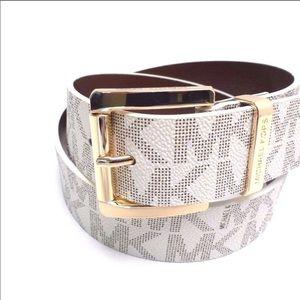 Michael kors white logo belt gold Nwt
